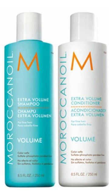 This is our Extra Volume Shampoo and Conditioner from Moroccan oil. This is a very lightweight shampoo and conditioner to help boost body. Also color safe.