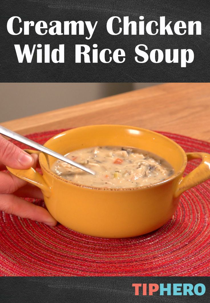 Creamy Chicken Wild Rice Soup Recipe | This creamy soul warming soup is super easy to make calling for hearty ingredients like wild rice, basmati rice, chicken, onions, carrots, celery, and garlic. Great for dinner or a lunch to-go! #comfortfood