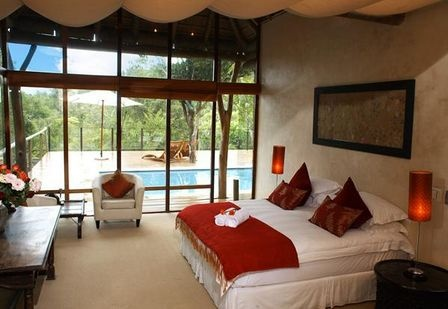 Bedroom at the Trogon house and forest spa.  http://www.south-african-hotels.com/hotels/trogon-house-and-forest-spa-plettenberg-bay/