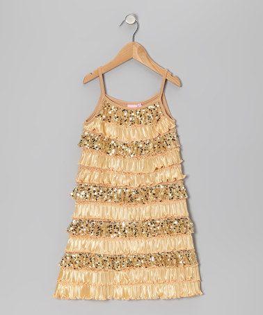 Golden Girl Dress - Toddler & Girls by Lipstik Girls on #zulily - Cute for 1920's/Flapper inspired Wedding