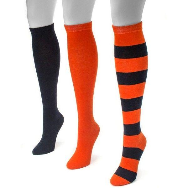 Adult MUK LUKS Game Day 3-pk. Knee-High Socks ($26) ❤ liked on Polyvore featuring intimates, hosiery, socks, blue, knee socks, knee hi socks, blue knee high socks, knee high socks and blue socks