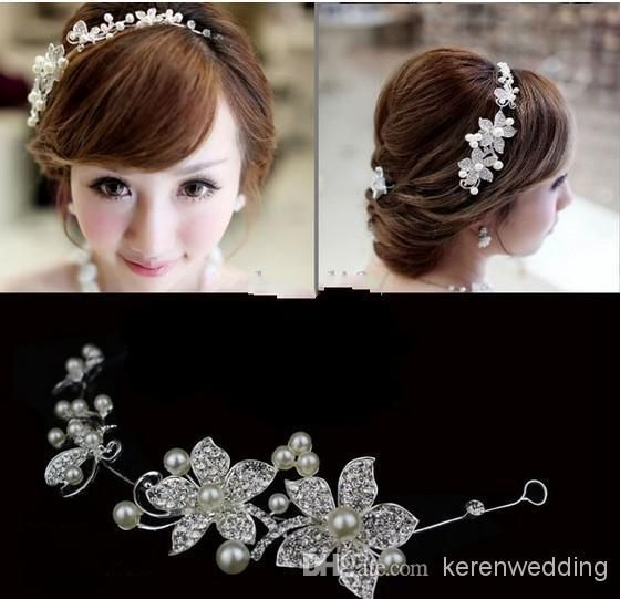 Wholesale Bridal Tiaras - Buy LK In Stock !!Fashion Wedding Bridal Hair Jewelry Fancy Pearl Flower Sparkly Crystal Tiaras & Hair Accessories...