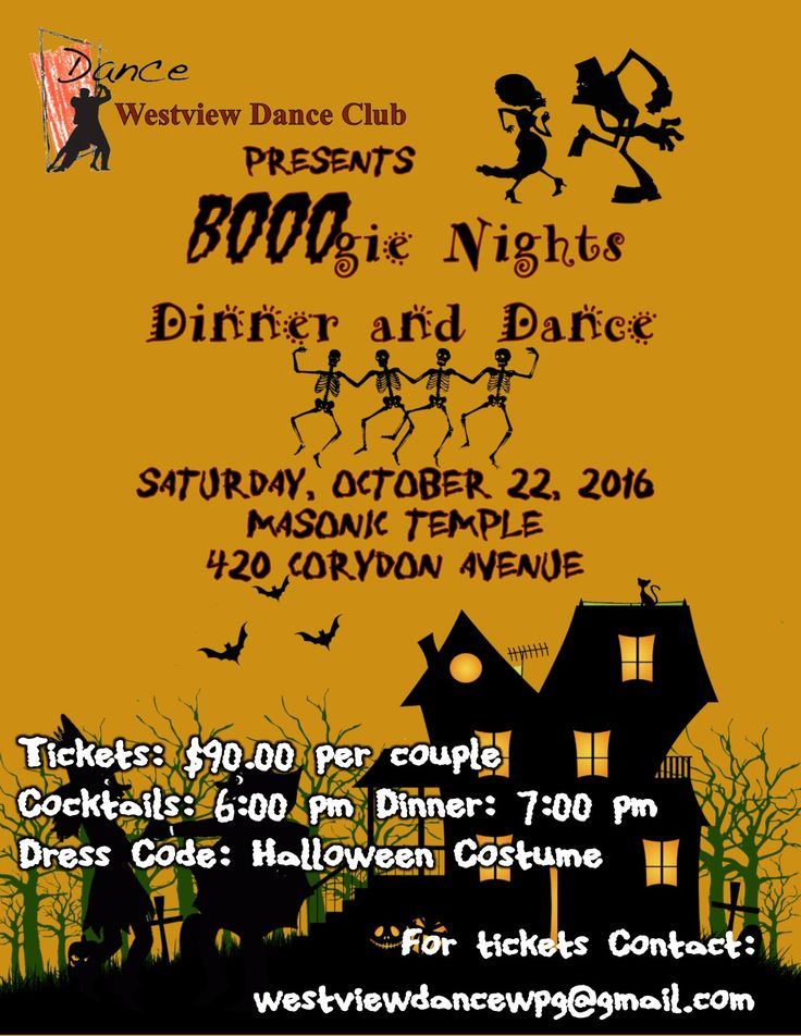 Join Westview Dance Club's first dance of the season as we celebrate Halloween with our BOOOgie Nights Dinner and Dance at the Masonic Temple on Saturday October 22nd.  Cocktails begin at 6:00 pm and Dinner is served at 7:00 pm, after which you can dance the night away to great ballroom dance music. The cost is $90 per couple and Halloween costumes are recommended.  Now is the time to put on your spookiest costume, grab your partner and join in the fun.   Come dance with us!