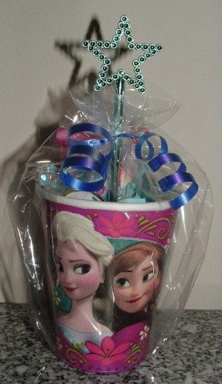 This listing Includes 4- 9oz FROZEN Themed Paper Cups filled with Candy & Prizes. No Assembly Required! Inside each 9oz Elsa & Anna Frozen Themed Cup