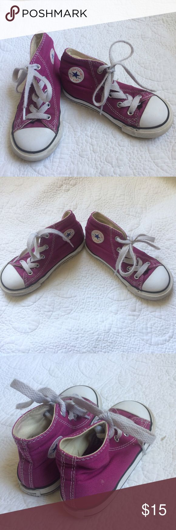 Converse Classic Chuck Taylor Pink Hi Top Sneakers - Preloved with tons of playtime left! - Pink Sapphire color. - Scuffs around rubber sole. - Classic staple for your little ones wardrobe! - No Trades Converse Shoes Sneakers