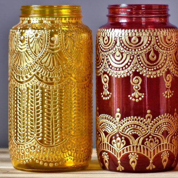 Jar éclectique lanterne Boho Chic Table Decor Boho par LITdecor