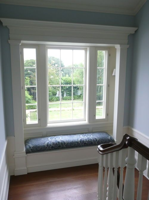 """""""Skylight"""" in this stairway with """"White Tie"""" trim, both by Farrow & Ball."""