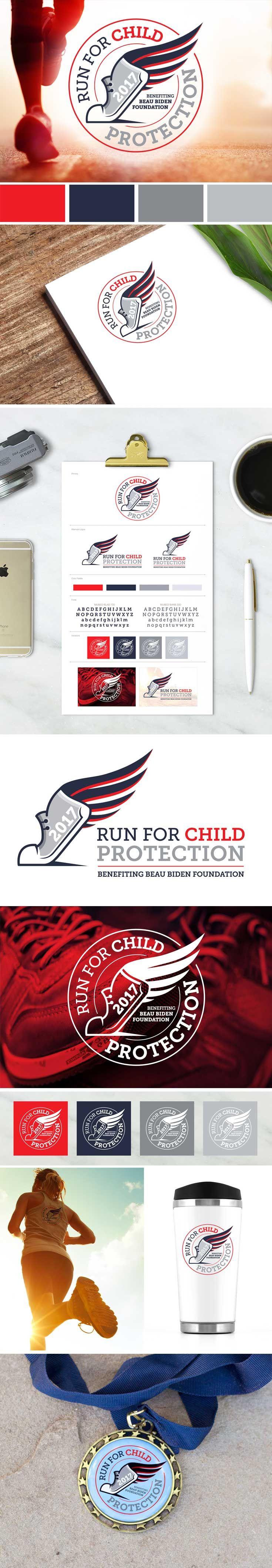 Beau Biden Foundation Run for Child Protection Event Logo Fundraiser Branding