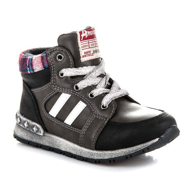Polbuty I Trzewiki Dzieciece Dla Dzieci Americanclub Czarne Chlopiece Trzewiki American Club High Top Sneakers Shoes Sneakers