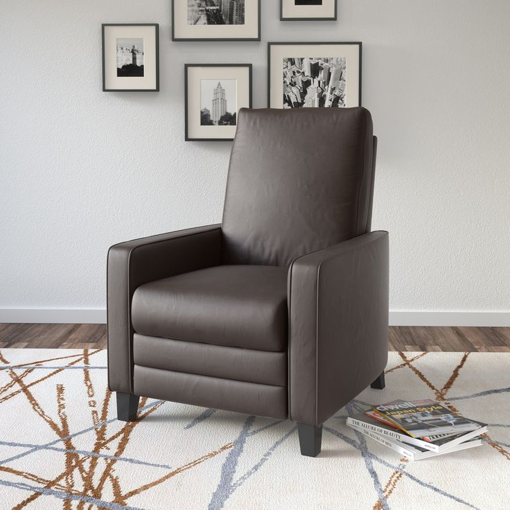 CorLiving Kelsey Bonded Leather Modern Recliner Armchair (Black) Size Standard : his and hers recliners - islam-shia.org
