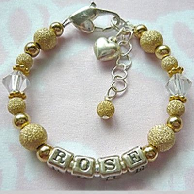 Gold Stardust Baby Name Bracelet