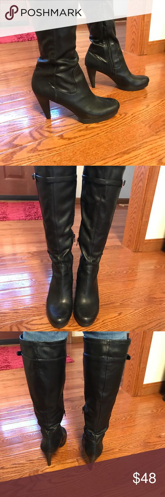 Nine West Tall Boots - 3.5 inch heel! Nine West Tall Boots - leather. 3.5 inch heels. Fun and cute! Size 7.5. Great with skirts and jeans! 👠🖤 Only worn once or twice. In excellent condition. Nine West Shoes Heeled Boots