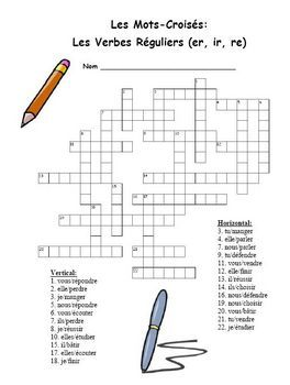 FREE-French Regular (er, ir, re) Verb Crossword Puzzle