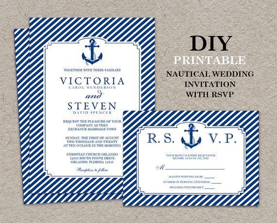 Wedding Invitations Pintrest: DIY Printable #Nautical #Wedding Invitation And RSVP Card