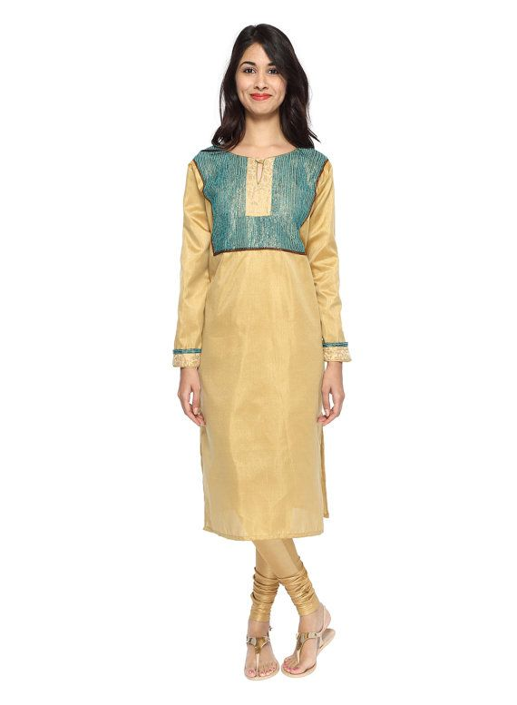Golden Beige & Teal Kurta (Long ...