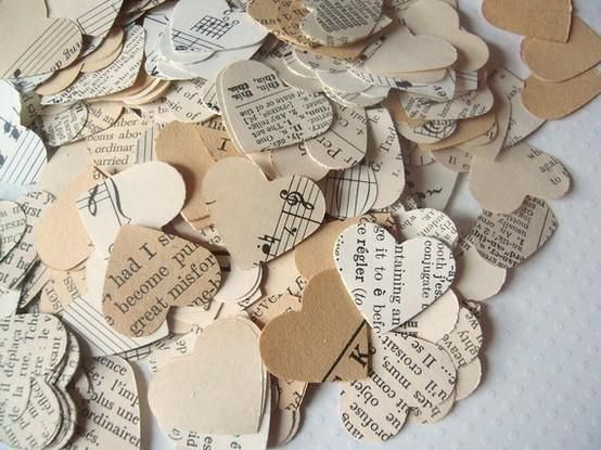 Beautiful heart confetti made from old newspapers!