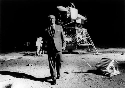 Dr. Werner Von Braun at the Neil Armstrong Moonscape, 1969 Southeast Fair.