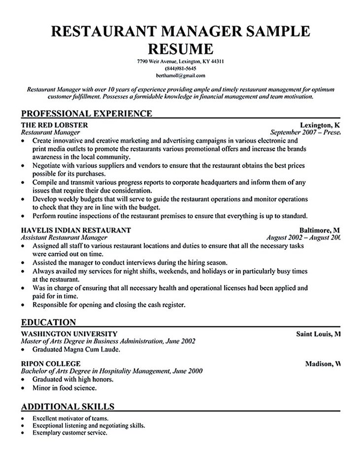 52 best restaurant resume images on Pinterest - assistant manager duties resume