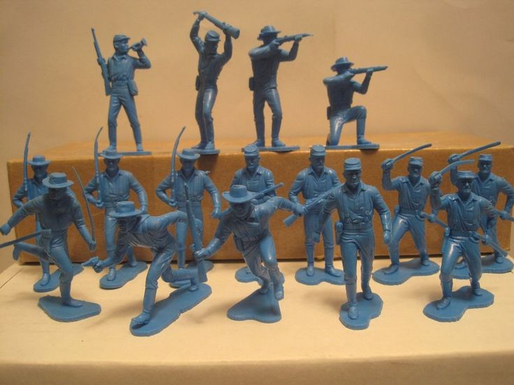 MARX FORT APACHE PLAYSET 16 1970s CAVALRY BRIGHT BLUE 54MM PLASTIC TOY SOLDIERS #MARX