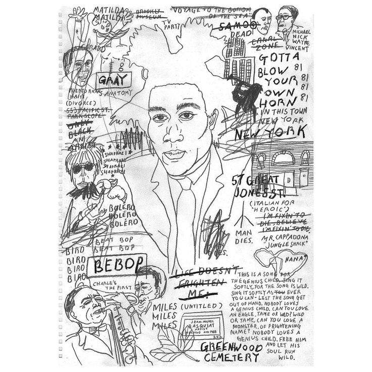 """""""Nobody loves a genius child. FREE him - and let his soul run wild.'"""" Jean-Michel Basquiat Illustration from my book '27'. #jeanmichelbasquiat #club27 #27 #illustration #pencil #paper #doodle #hero #langstonhughes #fabfivefreddy"""