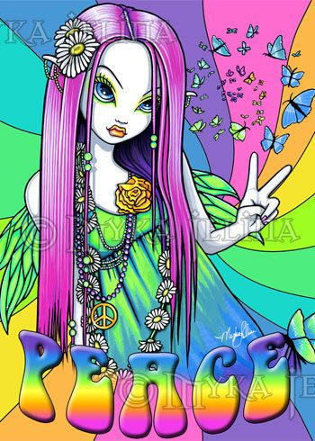 Rainbow Hippie Peace Fairy Art OOAK ACEO Chloe CU.