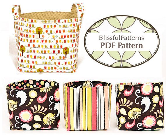 Easy to Sew Fabric Bin PDF Sewing Pattern - LOVE this idea, I could organize every room in the house with this... keys and mail, the boys toys, the crap that piles up on my kitchen table!