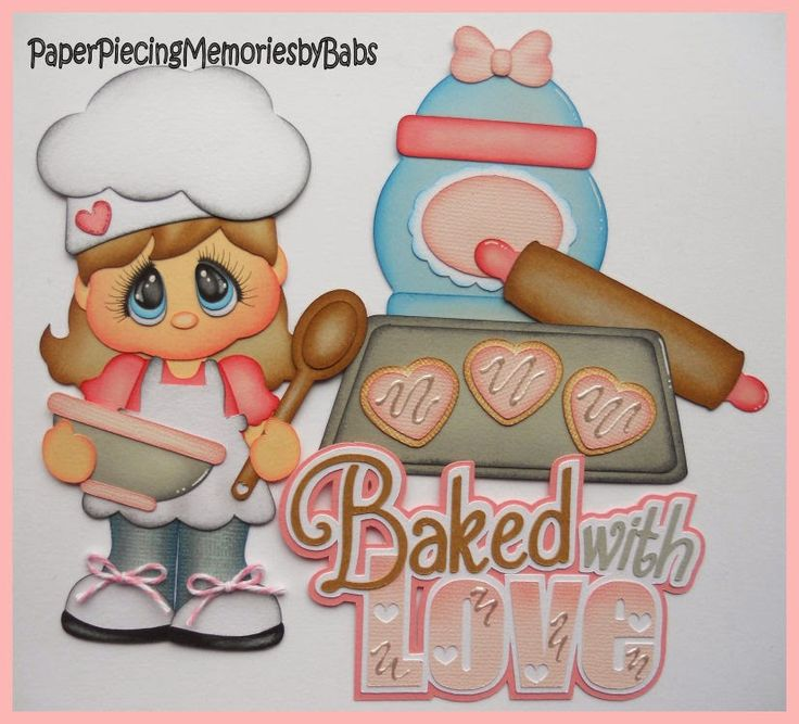Baking Girl created by PAPER PIECING MEMORIES BY BABS for scrapbook pages, pattern by Cuddly Cute Designs.