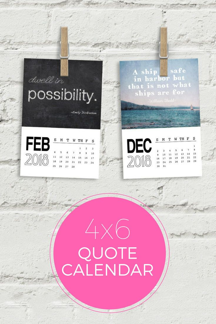 2018 Quote Calendar Size 4x6 Each Month Is A Inspirational Quote