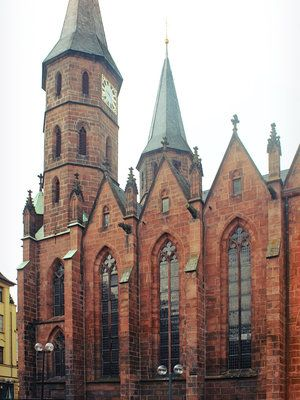 Kaiserslautern -- I lived near this city. This church is stunning when snow is on the ground.
