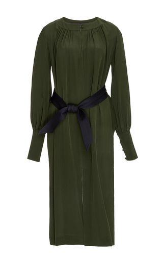 Martin GRANT   Khaki Silk Long Sleeved Dress