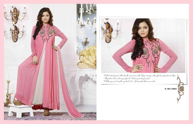 Drashti Dhami & Madhubala Georgette Anarkali Suit with readymade 42 georgette bottom and 2.25 meters chiffon dupatta with embroidery and lace work included (Catalog - 5278)