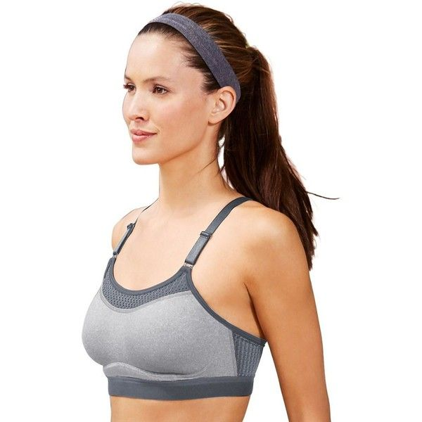 Champion Bra: The Show-Off High-Impact Wire-Free Sports Bra1666 ($40) ❤ liked on Polyvore featuring activewear, sports bras, oxford heather, racerback sports bra, champion sportswear, champion activewear, champion sports bra and red oxfords