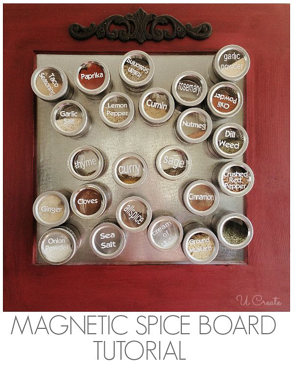 DIY Magnet Spice Board by U Create. A smaller version - premade but painted by the Crafter. I'm going to do this with my make-up in the bathroom.