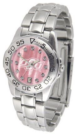 Oklahoma State Cowboys Ladies Sport Watch with Steel Band and Mother of Pearl Dial by SunTime. $69.84. Scratch Resistant Face. Calendar Date Function. Rotation Bezel/Timer. This handsome, eye-catching watch comes with a stainless steel link bracelet. A date calendar function plus a rotating bezel/timer circles the scratch resistant crystal. Sport the bold, colorful, high quality Oklahoma State Cowboys logo with pride.The hypnotic iridescence of our natural blush mother of ...