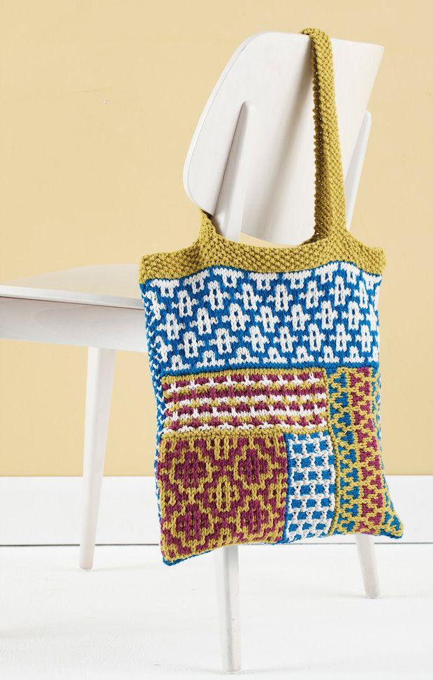 Slip Stitch Pattern Knitting : Knitting Pattern: Slip Stitch Mosaic Tote