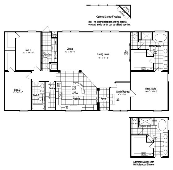 The Grande Isle VRT364L4 Home Floor Plan | Manufactured and/or Modular Floor Plans available floor plan