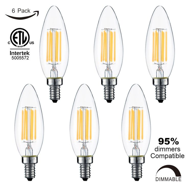 LiteHistory Deep Dimmable 6W filament C32/B10 led bulb,ETL,E12 LED Candelabra Bulb,600lm,60W equivalent led chandelier,Warm White 2700K led candle bulb,Blunt tip,Clear,6-Pack