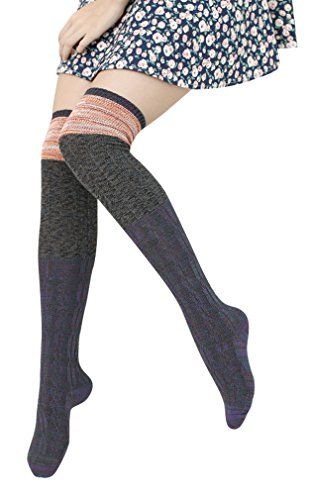 Womens Ladys Winter Warm Cotton Knee High Socks Yellow >>> Want to know more, click on the image.