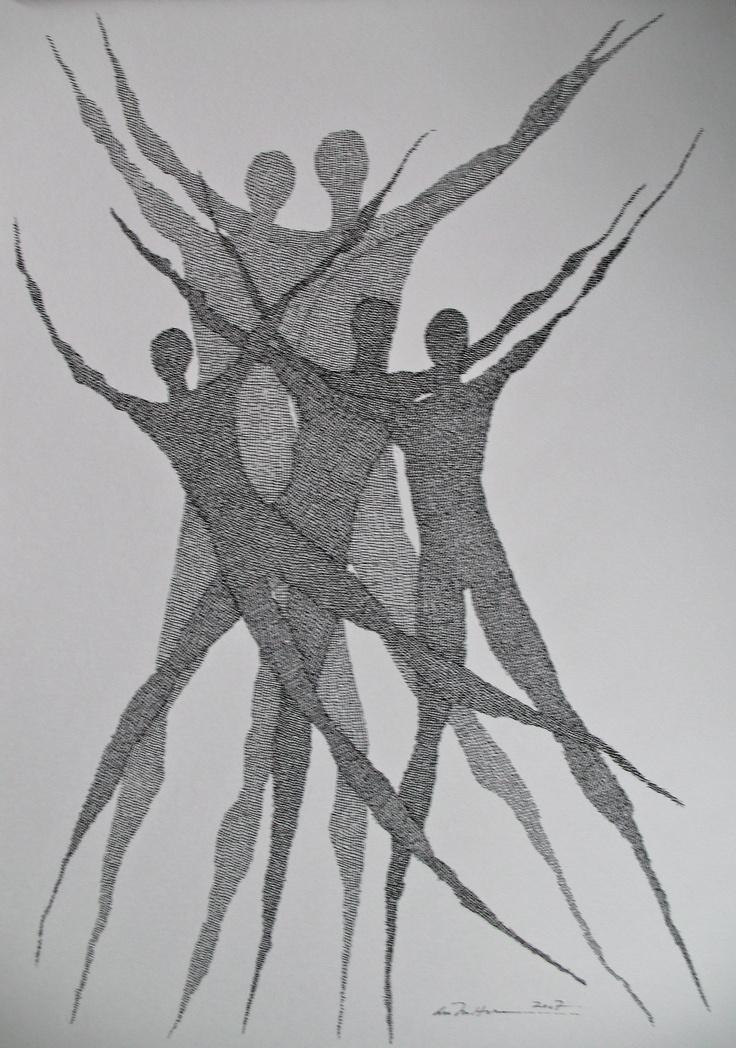 Åse Margrethe Hansen/Family. Ink drawing, 2007