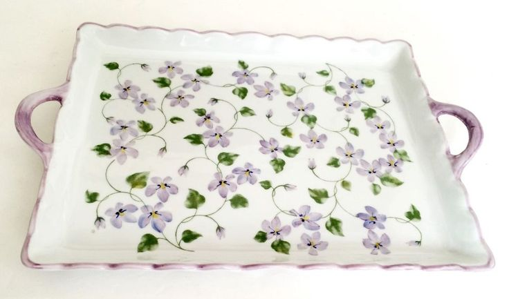 Andrea by Sadek Purple Floral 9 by 12 Serving Tray with Handles #AndreabySadek