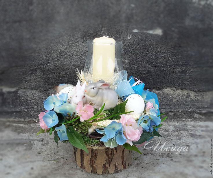 Купить Пасхальная композиция со свечой и кроликами Пасха - Пасха, пасхальный подарок, подарок на Пасху