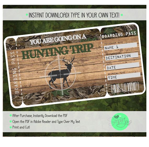 Printable Hunting Trip Surprise Ticket Boarding Pass Custom Template Digital Download PDF File  Ticket  Boarding Pass  Printable  Fillable  Surprise  Gift  Vacation Ticket  Hunting Ticket Hunting Trip  Husband  Hunting  Boyfriend  Hunting Surprise Surprise someone with a hunting trip vacation to anywhere by giving them this customizable Boarding Pass Ticket! Deer Camp Hunting Camp