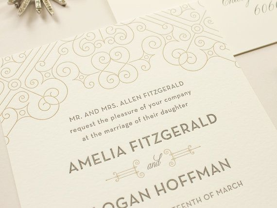 Letterpress style, flat print: $295 for 50 invites with RSVP cards and envelopes. Posh | Art Deco Letterpress Wedding Invitations, Vintage 1920s Letterpress Invitation SAMPLE