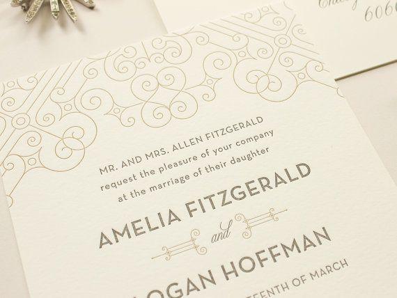 Posh - Art Deco Letterpress Wedding Invitations, metallic gold letterpress, 1920s wedding inspiration