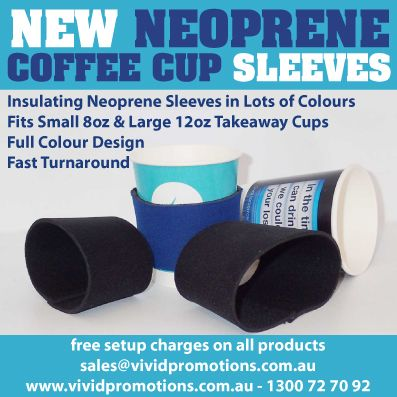 Just released Neoprene Coffee Cup Sleeves - perfect for getting return customers.  heaps of info at http://bit.ly/1y9BUp6 #coffee #cafe #coffeecupsleeve #neoprene #reusable #promotionalcoffee #restaurant #beverage #hotchocolate #takeawaycoffee #hotcoffee #coffeemug