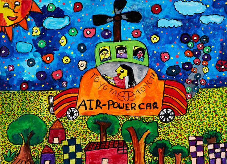 "Car that Travels Using Air by Ramesha Sandumini Gunasekara: "" This car uses only air and wind as fuel. This car can be driven in air and on land too. Its eco-friendly and saves money. "" #Kidsart #ToyotaDreamCar"