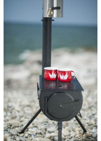 Frontiere Portable Camping stove. An attractive, easy to assemble and portable stove ideal for camping, (for use inside or outside your tent) camper van trips or simply use in the Garden for added warmth on a cooler evening. It can equally be used inside your home or shed!.