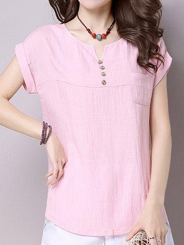Solid Pocket Short Sleeve V Neck Women T-Shirts