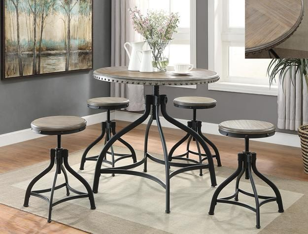 Kenneth 5 Piece Adjustable Height Table And 4 Bar Stools Table Bar Stools C /M