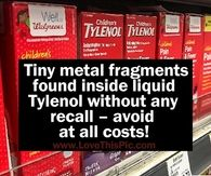 Tiny metal fragments found inside liquid Tylenol without any recall – avoid at all costs!